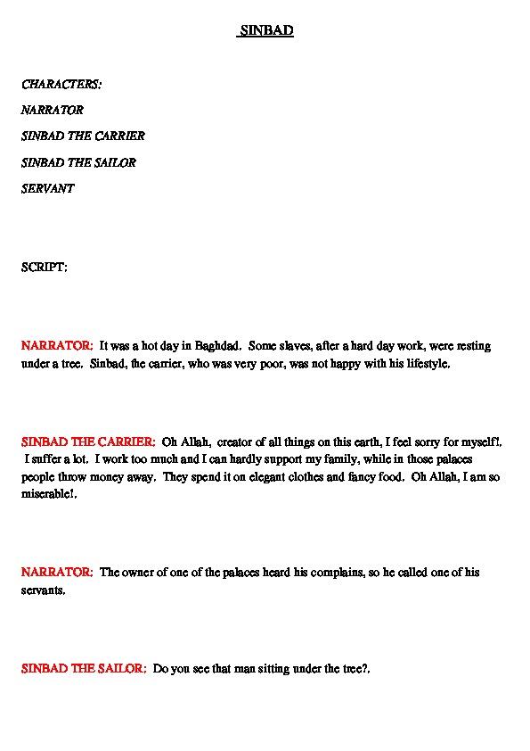 """Пьеса для самодеятельного театра """" SINBAD"""" (Traditional Arabic Story)"""