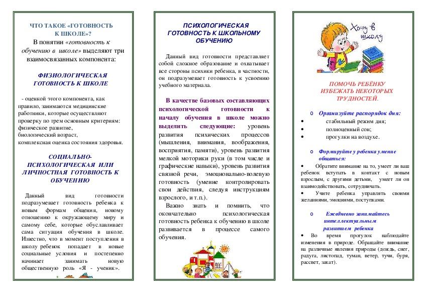"""Памятка """"Родителям будущих первоклассников"""""""