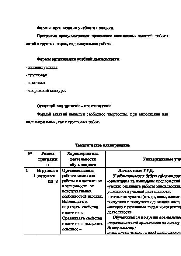 """Рабочая программа """"Мир пластилина"""""""