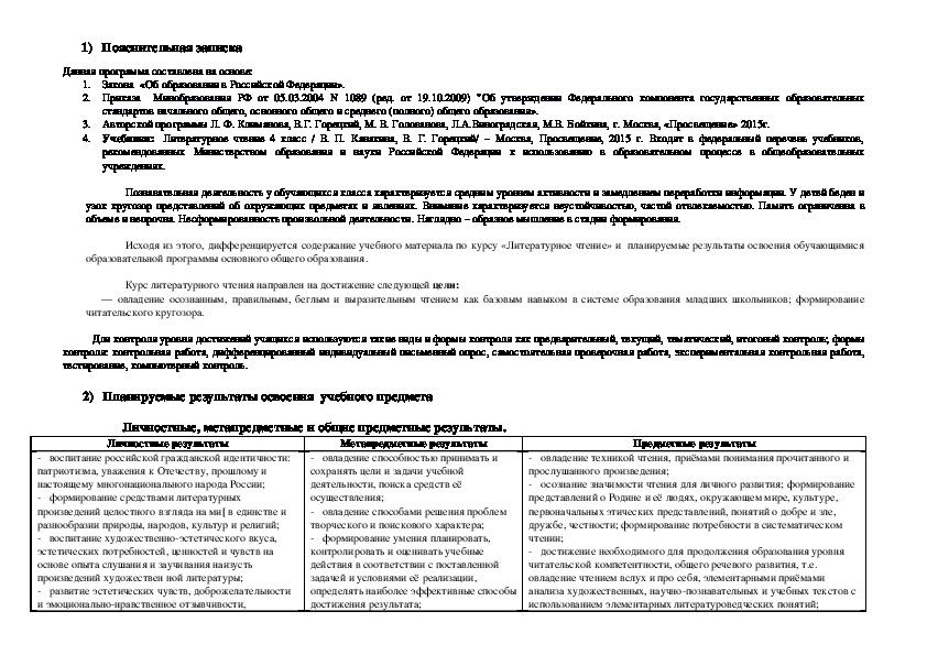Адаптированная рабочая программа для обучающихся с ЗПР по литературному чтению. 4 класс.