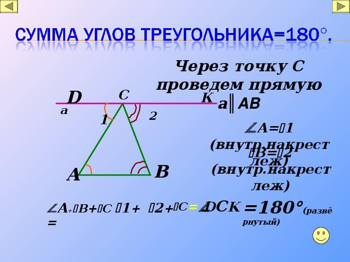"""""""Сумма углов треугольника""""(7кл., геометрия)"""