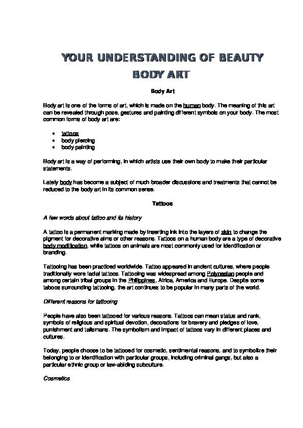 Metodicheskaya Razrabotka K Uroku Your Understanding Of Beauty Body Art