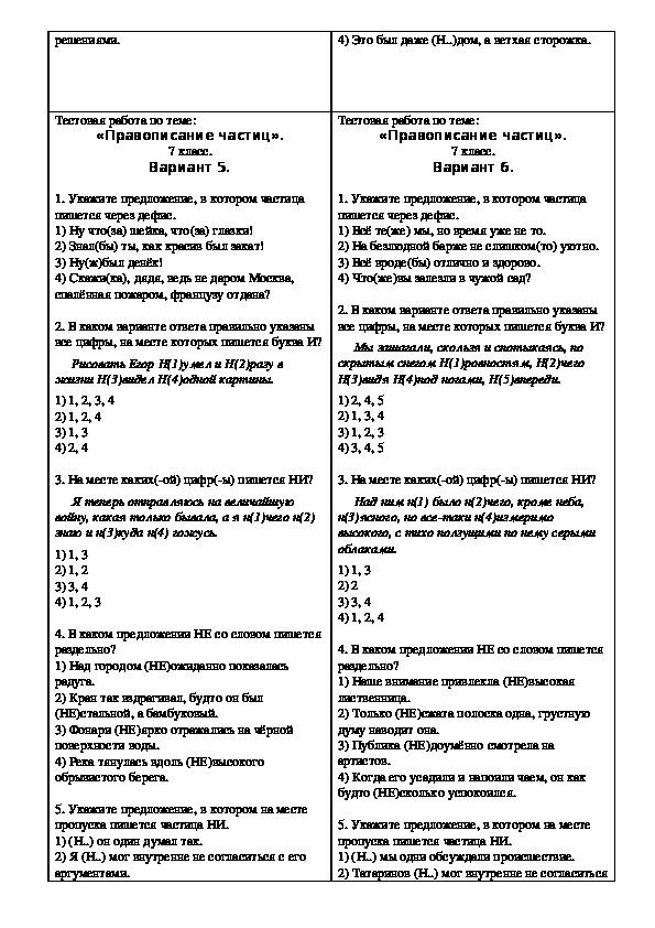"""Тест на тему """"Правописание частиц"""" (7 класс, русский язык)"""