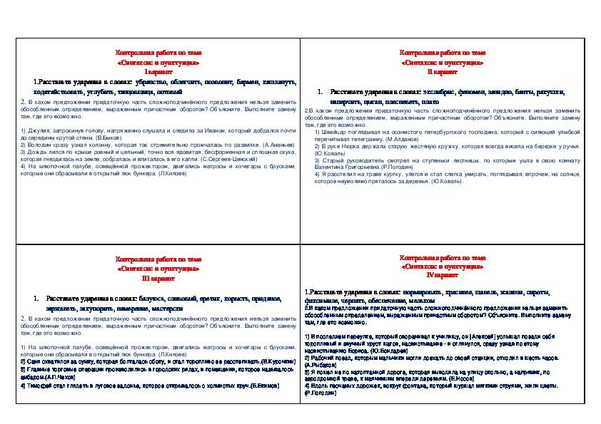 """Контрольная работа по теме """"Синтаксис и пунктуация"""" (11 класс)"""