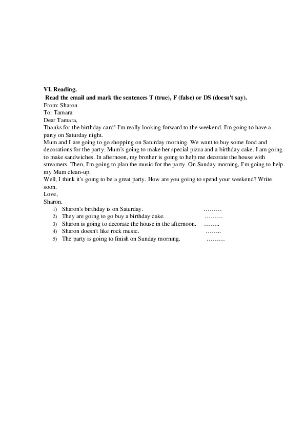 Итоговая контрольная работа Spotlight 6 (6 класс)