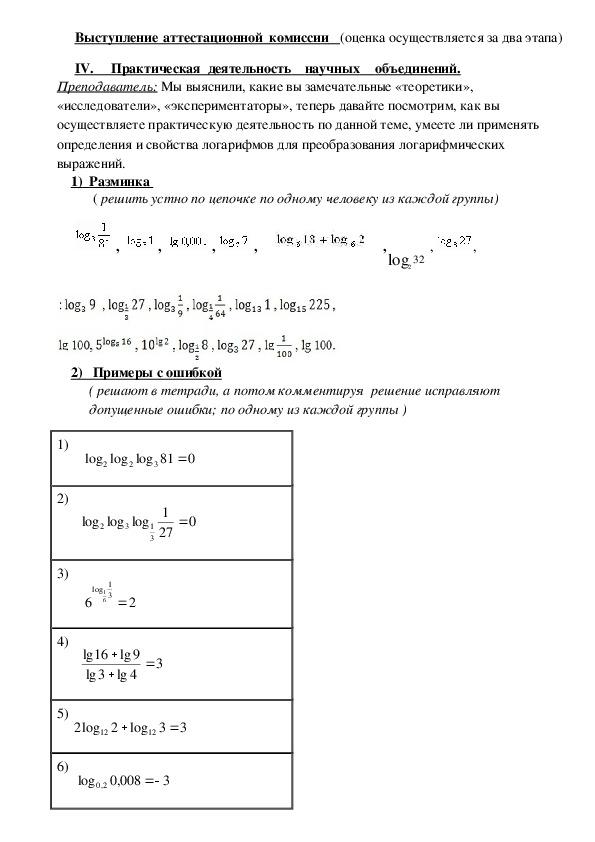 """Методическая разработка урока по математике на тему """"Логарифм, преобразование логарифмических выражений"""""""