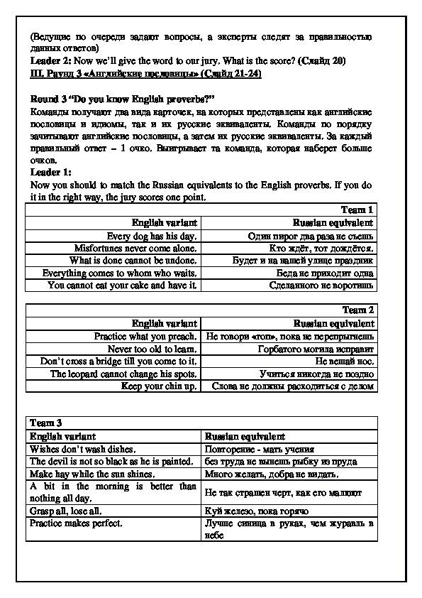 Сценарий «Страноведческой игры-викторины по английскому языку» (7 класс, английский язык)