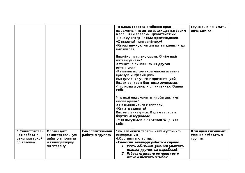 """Технологическая карта урока  """"Г.Снегирёв «Отважный пингвинёнок»"""" (2 класс, литературное чтение)"""