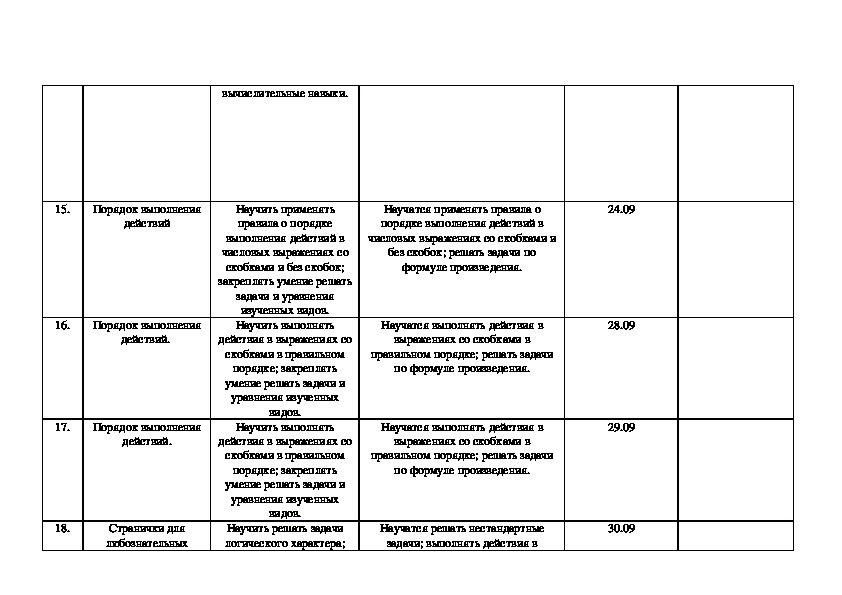 Рабочая программа по математике (базовое изучение) класс 3