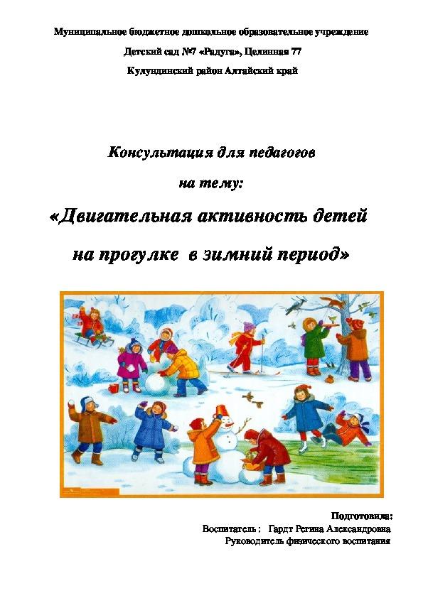 «Двигательная активность детей  на прогулке  в зимний период»