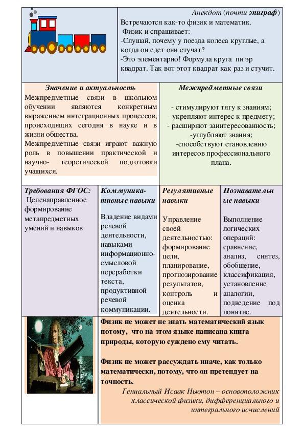 Стендовый доклад «Межпредметные связи как средство развития УУД»