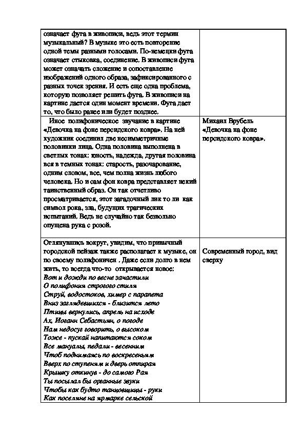"""Разработка урока """"Полифония в музыке и живописи  """""""