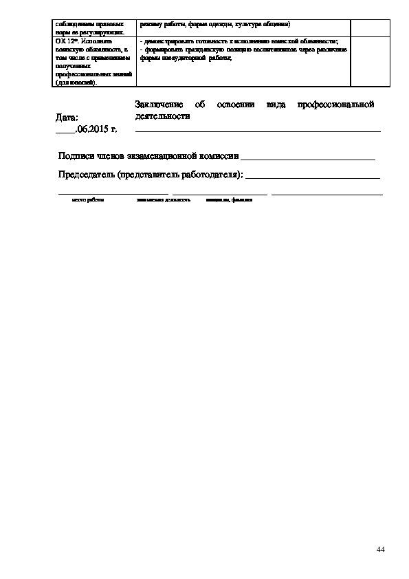 Методика разработки оценочных средств по профессиональным модулям