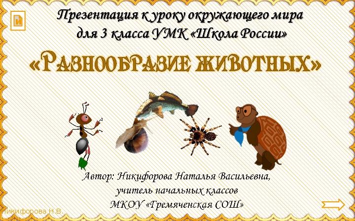 """Презентация по окружающему миру для 3 класса """"Разнообразие животных"""""""