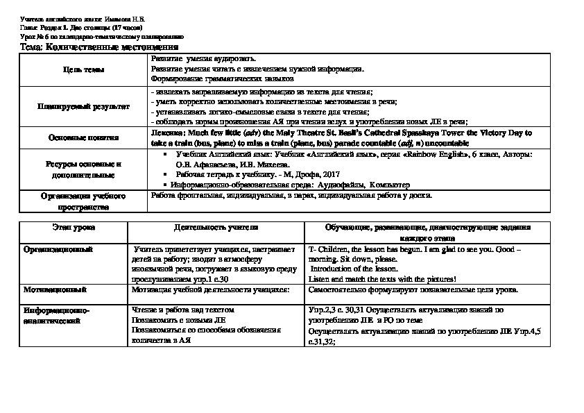 """План-конспект урока английского языка """"Московский зоопарк"""", 6 класс. План-конспект урока английского языка """"Количественные местоимения"""", 6 класс"""