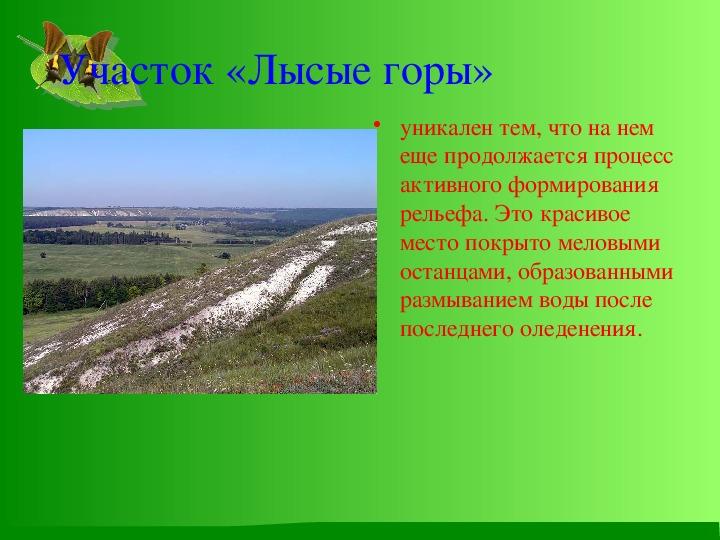 """Презентация по биологии на тему """"Заповедник Белогорье"""""""