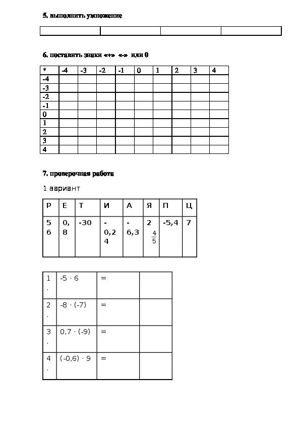 """Рабочий лист для обучающегося на урок математики 6 кл по теме """"Умножение положительных и отрицательных чисел"""""""