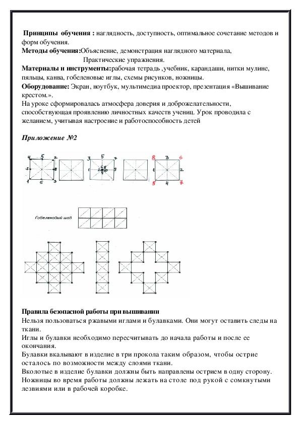 Конспект открытого урока в 6 классе. «Вышивка крестом. Методы и виды вышивки крестом».
