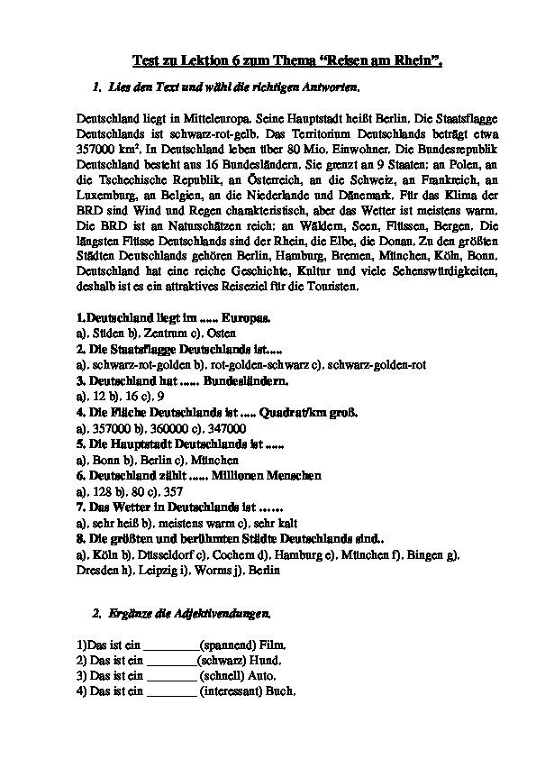 """Тест по немецкому языку для 8 класса. Lektion 6 """"Reisen am Rhein"""""""