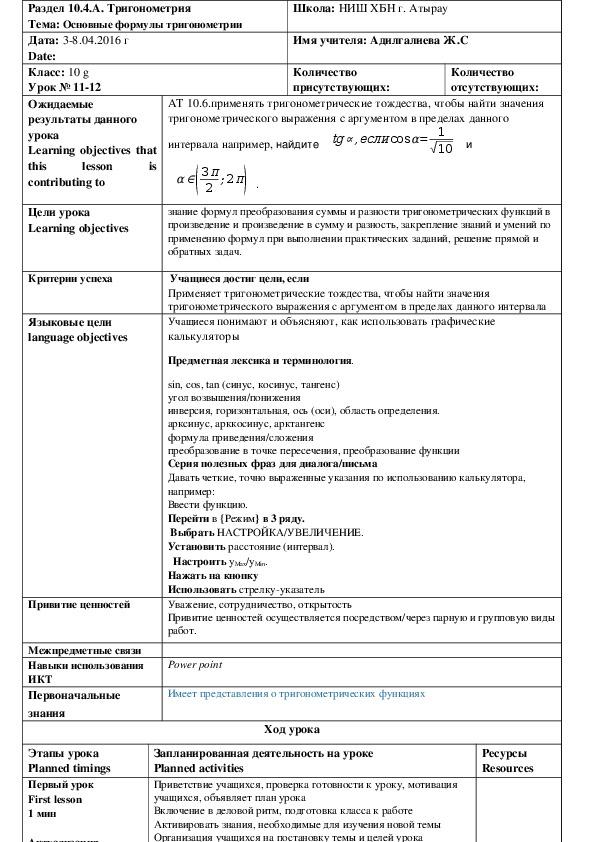 План урока на тему Основные формулы тригонометрии (10 класс)
