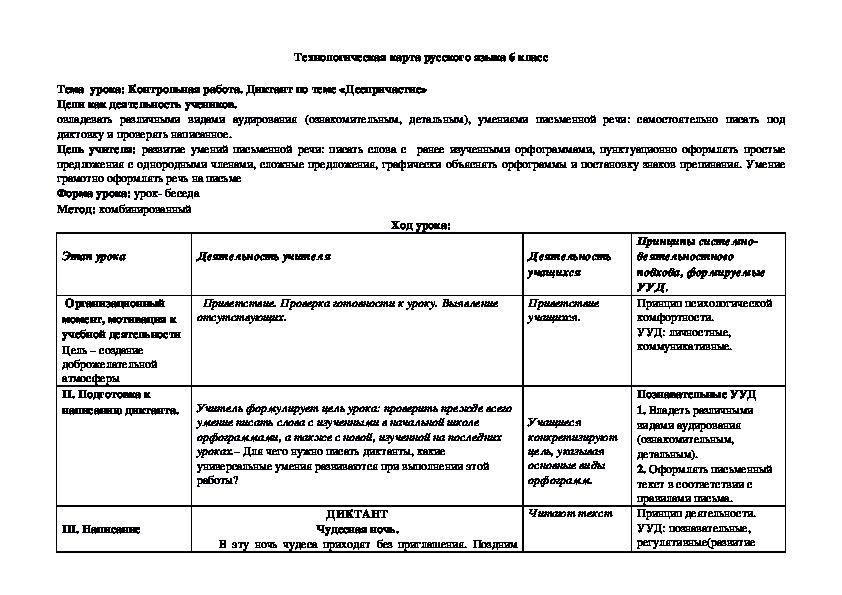 """Технологическая карта. Диктант по теме """"Деепричастие"""""""