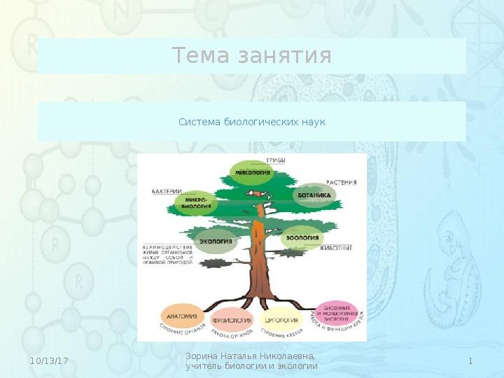 "Презентация по биологии ""Система биологических наук"" (10 класс)"