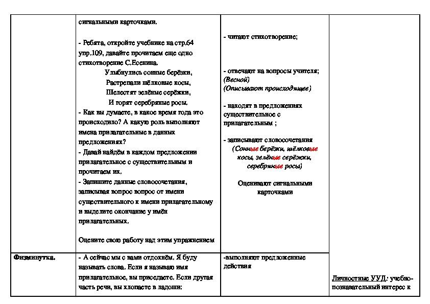 """Технологическая карта по русскому языку на тему """"Имя прилагательное"""" 3 класс"""