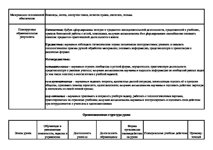 """Разработка плана урока по технологии на тему """"Хранители домашнего очага"""". 5 класс"""