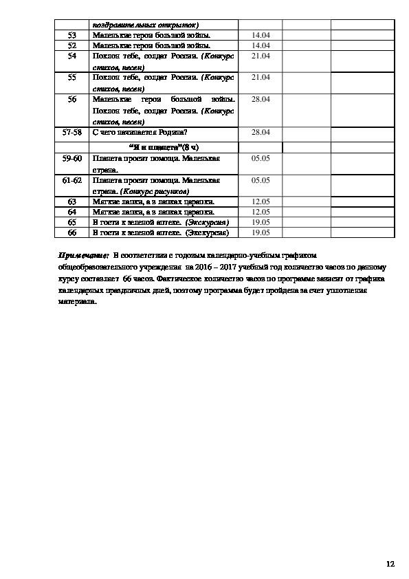 Рабочая программа по внеурочной деятельности «Я живу в России» для 1 - класса