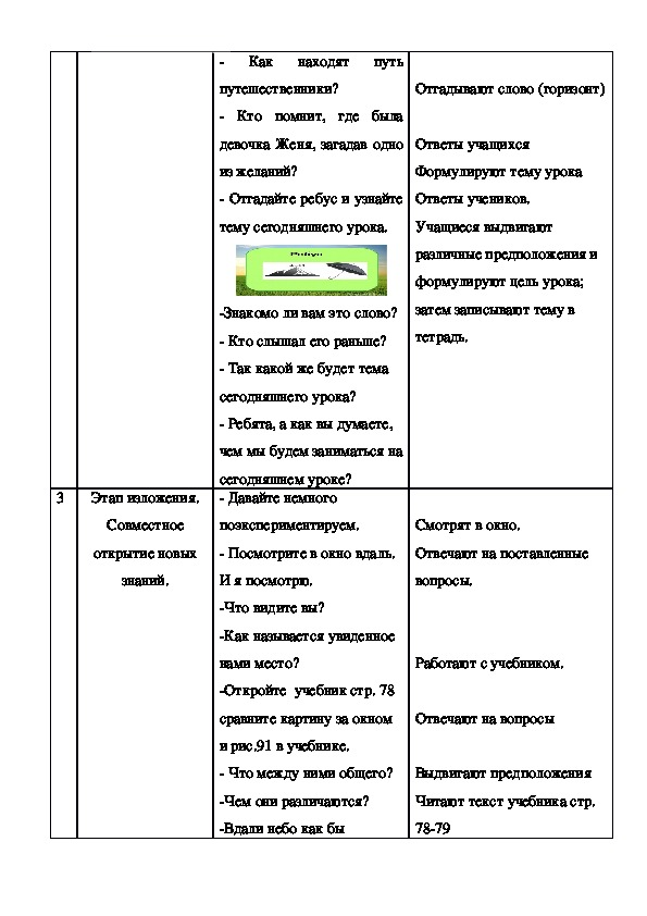 """Технологическая карта урока """"Стороны горизонта"""" 5 класс"""