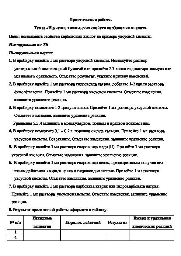 """Практическая работа  по химии на тему """"Карбоновые кислоты"""" ( 10 класс), инструкция"""