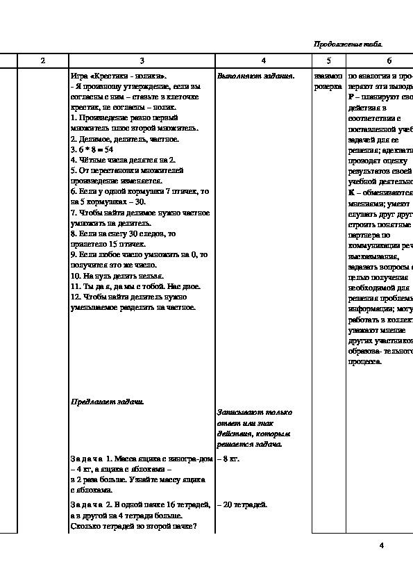 """Конспект урока """"Внетабличное умножение и деление в пределах 100"""" 3 класс"""