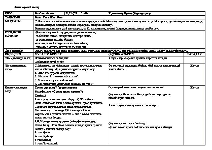 """Ашық сабақ 2 класс Тақырыбы: """"Әлия"""" С.Жиенбаев"""