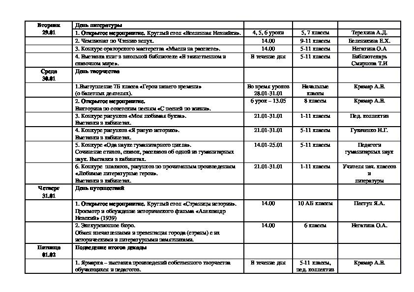 План школьной Декады общественно-гуманитарных наук