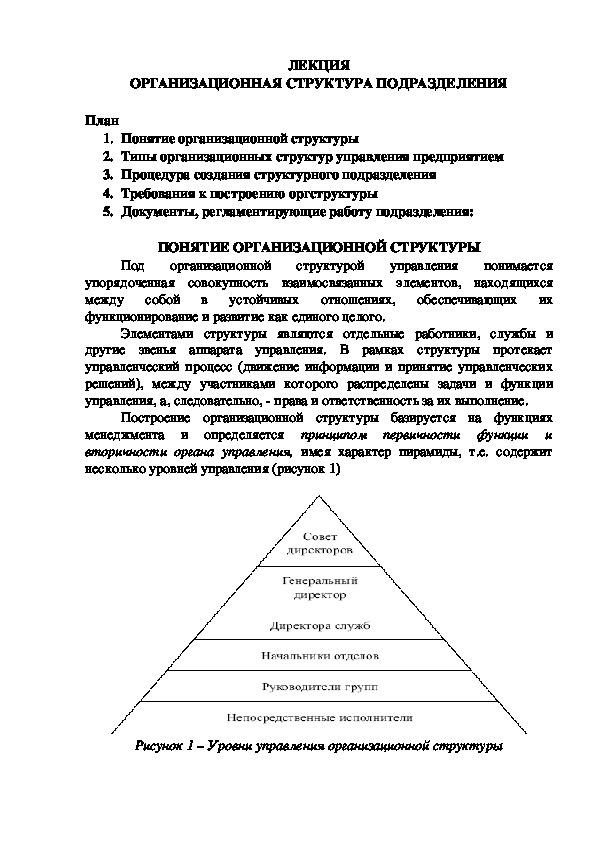 Лекция 2. МДК 02.01. Планирование и организация работы структурного подразделения.