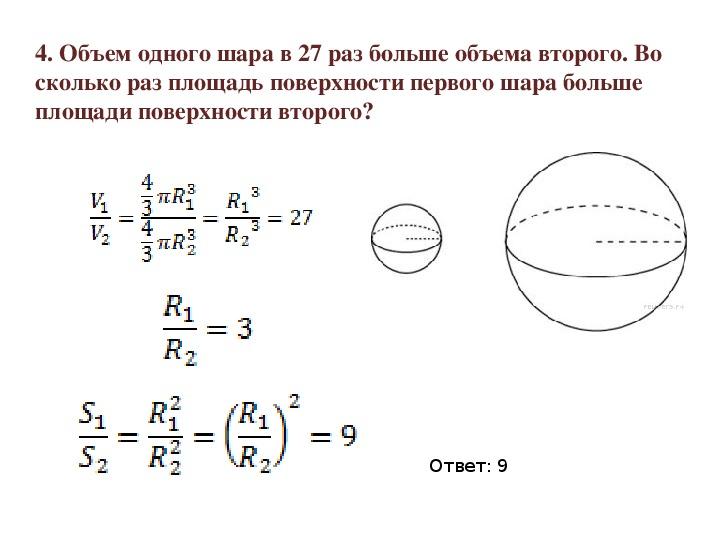 "Решение задач на тему ""Шар. Сфера"""