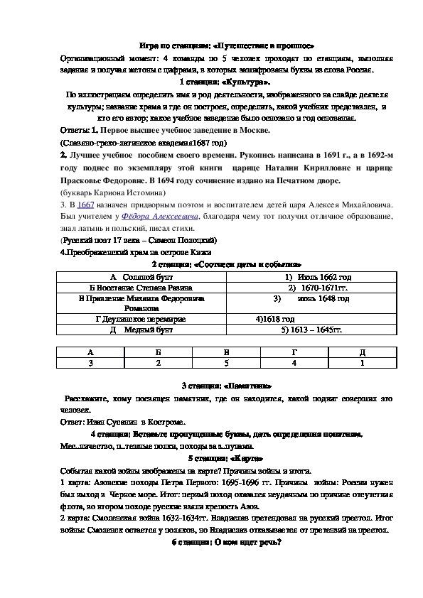 Игра по станциям по истории России 7 класс