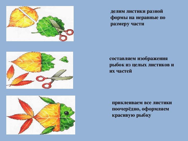"""Презентация по технологии на тему """"Рыбки из осенних листьев"""" (аппликация, 1 класс)"""