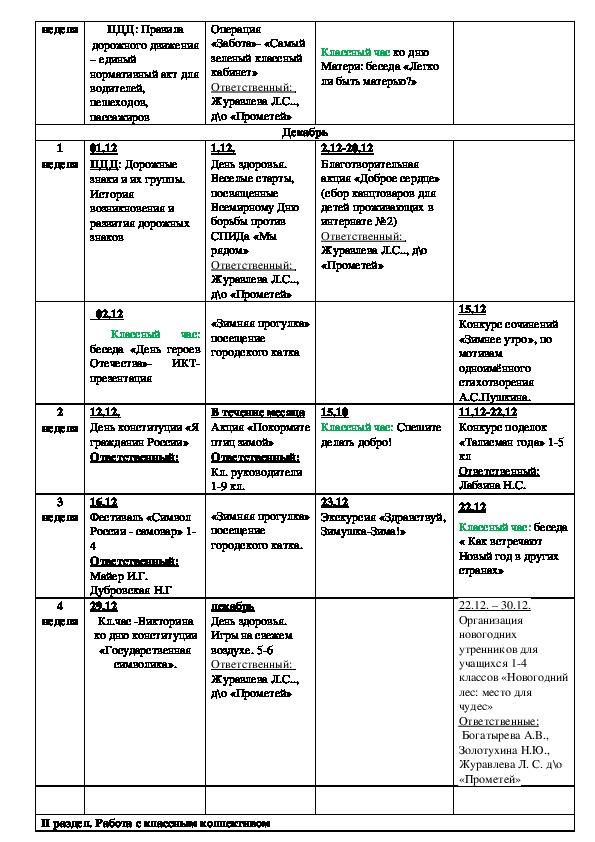 План воспитательной работы 4 класса