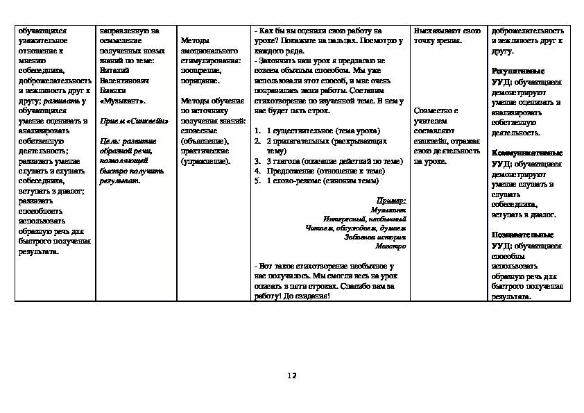 """Конструкт урока литературного чтения на тему """"В. Бианки. Музыкант"""" (3 класс, УМК Гармония)"""