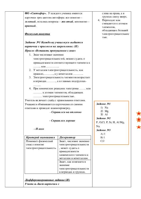 """КСП на тему """"Электроотрицательность""""."""
