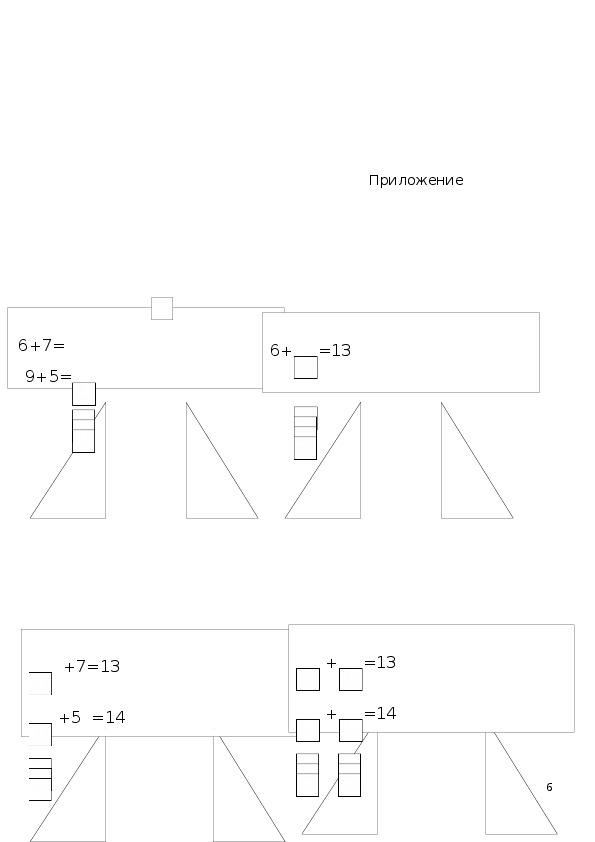 """Конспект урока """"Закрепление знаний таблицы сложения с переходом через десяток"""" 1 класс"""