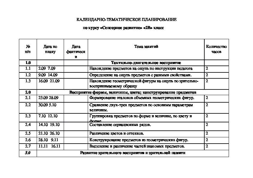 """Рабочая программа по предмету """"Сенсорное развитие"""" (2 класс)"""