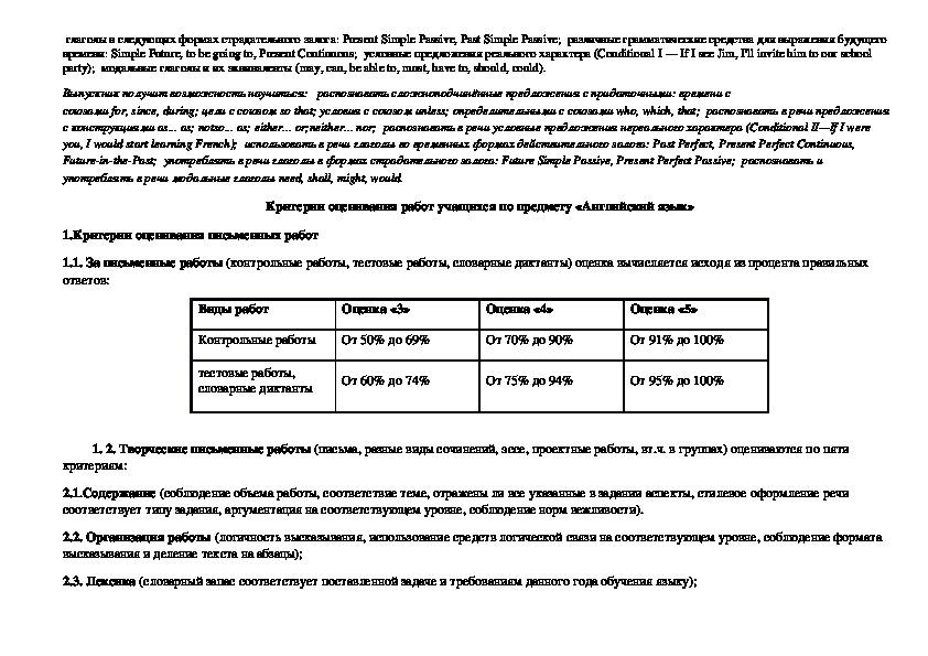 Рабочая программа по английскому языку к УМК В. П. Кузовлева 7 класс (ФГОС) 2018 - 2019 учебный год
