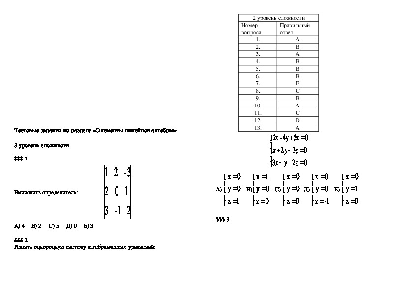 Тесты по Линейной алгебре