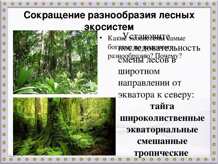 """Презентация к уроку биологии 7 класс """"Экосистемное разнообразие и деятельность человека"""" (7 класс)"""