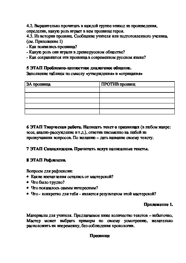 Мастерская проблемно-ценностной ориентации и творческого письма по теме   «ПРОЗВИЩЕ» (7 класс)