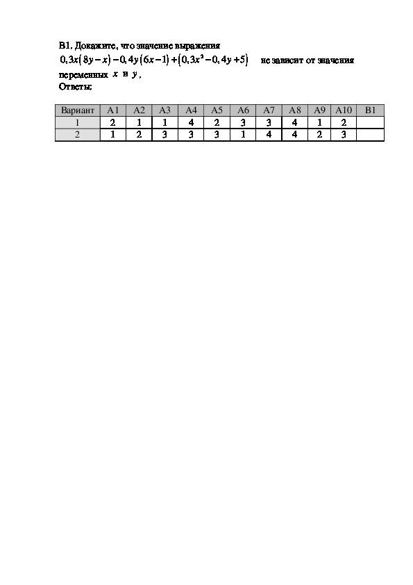Тесты по алгебре для 7 класса