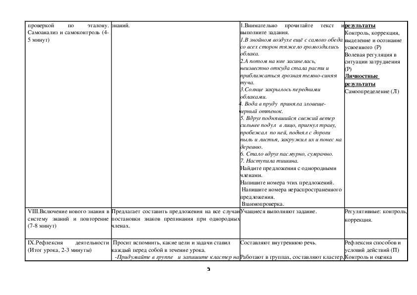 Урок по русскому языку на тему «Однородные члены предложения. Знаки препинания в предложении с однородными членами»(5 класс)