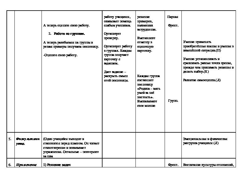 """Технологическая карта урока математики на тему """"Вычитание смешанных чисел"""" (6 класс, математика)"""